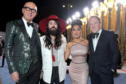 (L-R) Marco Bizzarri, Alessandro Michele, wearing Gucci, Salma Hayek Pinault, wearing Gucci, and François-Henri Pinault attend the 2019 LACMA Art + Film Gala Presented By Gucci at LACMA on November 02, 2019 in Los Angeles, California.