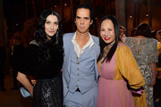 (L-R) Susie Cave, Nick Cave, and Eva Chow, wearing Gucci, attend the 2019 LACMA Art + Film Gala Presented By Gucci at LACMA on November 02, 2019 in Los Angeles, California.