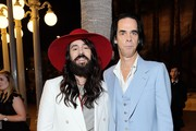 (L-R) Alessandro Michele and Nick Cave, both wearing Gucci, attend the 2019 LACMA Art + Film Gala Presented By Gucci at LACMA on November 02, 2019 in Los Angeles, California.