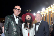 (L-R) Marco Bizzarri, Alessandro Michele, wearing Gucci, and François-Henri Pinault attend the 2019 LACMA Art + Film Gala Presented By Gucci at LACMA on November 02, 2019 in Los Angeles, California.