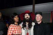 (L-R) Santigold, Alessandro Michele, and Trevor Andrew, all wearing Gucci, attend the 2019 LACMA Art + Film Gala Presented By Gucci at LACMA on November 02, 2019 in Los Angeles, California.