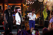 (L-R) El Micha, Pitbull, Ne-Yo, and Lenier perform onstage during the 2019 Latin American Music Awards at Dolby Theatre on October 17, 2019 in Hollywood, California.