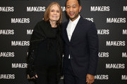 Gloria Steinem (L) and John Legend attend The 2019 MAKERS Conference at Monarch Beach Resort on February 7, 2019 in Dana Point, California.