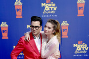 Dan Levy and Annie Murphy attend the 2019 MTV Movie and TV Awards at Barker Hangar on June 15, 2019 in Santa Monica, California.