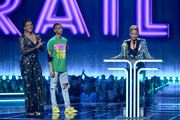 (L-R) Tiffany Haddish and Jaden Smith present Jada Pinkett Smith with the MTV Trailblazer Award onstage during the 2019 MTV Movie and TV Awards at Barker Hangar on June 15, 2019 in Santa Monica, California.
