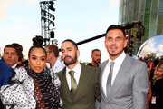 (L-R) B. Simone, Marc Jacobs, and Char Defrancesco attend the 2019 MTV Video Music Awards at Prudential Center on August 26, 2019 in Newark, New Jersey.
