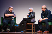 Tom Hall, Olympia Dukakis and Harry Mavromichalis speak at the 2019 Montclair Film Festival on May 5, 2019 in Montclair, New Jersey.