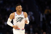 Russell Westbrook #0 of the Oklahoma City Thunder celebrates a shot against Team LeBron in the second quarter during the NBA All-Star game as part of the 2019 NBA All-Star Weekend at Spectrum Center on February 17, 2019 in Charlotte, North Carolina.  NOTE TO USER: User expressly acknowledges and agrees that, by downloading and/or using this photograph, user is consenting to the terms and conditions of the Getty Images License Agreement. Mandatory Copyright Notice: Copyright 2019 NBAE