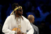 2 Chainz mingles during halftime during the NBA All-Star game as part of the 2019 NBA All-Star Weekend at Spectrum Center on February 17, 2019 in Charlotte, North Carolina.  NOTE TO USER: User expressly acknowledges and agrees that, by downloading and/or using this photograph, user is consenting to the terms and conditions of the Getty Images License Agreement.