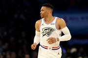 Russell Westbrook #0 of the Oklahoma City Thunder and Team Giannis reacts in the first half during the NBA All-Star game as part of the 2019 NBA All-Star Weekend at Spectrum Center on February 17, 2019 in Charlotte, North Carolina.  NOTE TO USER: User expressly acknowledges and agrees that, by downloading and/or using this photograph, user is consenting to the terms and conditions of the Getty Images License Agreement.
