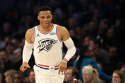 Russell Westbrook #0 of the Oklahoma City Thunder and Team Giannis reacts as they take on Team LeBron during the NBA All-Star game as part of the 2019 NBA All-Star Weekend at Spectrum Center on February 17, 2019 in Charlotte, North Carolina. Team LeBron won 178-164. NOTE TO USER: User expressly acknowledges and agrees that, by downloading and/or using this photograph, user is consenting to the terms and conditions of the Getty Images License Agreement.