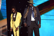 (L-R) 2 Chainz and Shaquille O'Neal speak onstage during the 2019 NBA Awards presented by Kia on TNT at Barker Hangar on June 24, 2019 in Santa Monica, California.