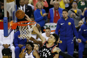 Danny Green #14 of the Toronto Raptors attempts a shot against the Golden State Warriors in the second half during Game Three of the 2019 NBA Finals at ORACLE Arena on June 05, 2019 in Oakland, California. NOTE TO USER: User expressly acknowledges and agrees that, by downloading and or using this photograph, User is consenting to the terms and conditions of the Getty Images License Agreement.