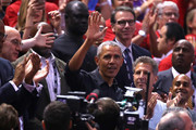 Former President of the United States, Barack Obama waves to the crowd during Game Two of the 2019 NBA Finals between the Golden State Warriors and the Toronto Raptors at Scotiabank Arena on June 02, 2019 in Toronto, Canada.  NOTE TO USER: User expressly acknowledges and agrees that, by downloading and or using this photograph, User is consenting to the terms and conditions of the Getty Images License Agreement.