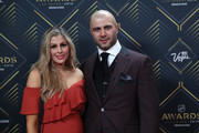 Mark Giordano (R) of the Calgary Flames and guest arrive at the 2019 NHL Awards at the Mandalay Bay Events Center on June 19, 2019 in Las Vegas, Nevada.