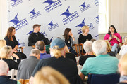 NFF Co-founder, Jill Burkhart Directors Davy Rothbart, Waad al-Kateab, Cindy Meehl, and Linda Goldstein Knowlton speak onstage at Morning Coffee during the 2019 Nantucket Film Festival - Day Five on June 23, 2019 in Nantucket, Massachusetts.