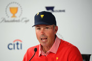 Matt Kuchar of the United States team speaks to the media after Thursday four-ball matches on day one of the 2019 Presidents Cup at Royal Melbourne Golf Course on December 12, 2019 in Melbourne, Australia.