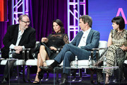 """Marc Cherry, Lucy Lui, Jack Davenport and Ginnifer Goodwin of """"Why Women Kill"""" speak during the CBS segment of the 2019 Summer TCA Press Tour at The Beverly Hilton Hotel on August 1, 2019 in Beverly Hills, California."""
