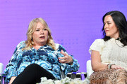 Julie Plec (L) and Maggie Kiley attend 2019 Summer TCA Press Tour - Day 13 at The Beverly Hilton Hotel on August 04, 2019 in Beverly Hills, California.