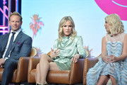 Ian Ziering, Jennie Garth and Tori Spelling of BH 90210 speak during the Fox segment of the 2019 Summer TCA Press Tour at The Beverly Hilton Hotel on August 7, 2019 in Beverly Hills, California.