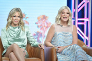 Jennie Garth and Tori Spelling of BH 90210 speak during the Fox segment of the 2019 Summer TCA Press Tour at The Beverly Hilton Hotel on August 7, 2019 in Beverly Hills, California.