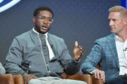 Reggie Bush and Joel Klatt of Fox Sports speak during the Fox segment of the 2019 Summer TCA Press Tour at The Beverly Hilton Hotel on August 7, 2019 in Beverly Hills, California.