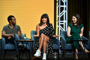 (L-R) William Jackson Harper, Jameela Jamil, and D'Arcy Carden of 'The Good Place' speak during the NBC segment of the 2019 Summer TCA Press Tour at The Beverly Hilton Hotel on August 08, 2019 in Beverly Hills, California.