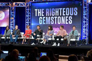 (L-R) Jody Hill, John Goodman, Cassidy Freeman, Danny McBride, Edi Patterson, Adam DeVine, and David Gordon Green of 'The Righteous Gemstones' speak during the HBO segment of the Summer 2019 Television Critics Association Press Tour 2019 at The Beverly Hilton Hotel on July 24, 2019 in Beverly Hills, California.