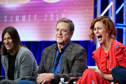 (L-R) Jody Hill, John Goodman, and Cassidy Freeman of 'The Righteous Gemstones' speak during the HBO segment of the Summer 2019 Television Critics Association Press Tour 2019 at The Beverly Hilton Hotel on July 24, 2019 in Beverly Hills, California.
