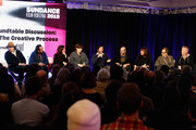 (L-R) Enis Rotthoff, Will Bates, Mandy Hoffman, Heather McIntosh, David Wingo, Scott Z. Burns, Doreen Ringer-Ross, Peter Golub and Blake Neely speak at the BMI's 21st Roundtable Discussion: Music And Film - The Creative Process during the 2019 Sundance Film Festival at Kimball Art Center on January 27, 2019 in Park City, Utah.