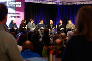(L-R) Will Bates, Mandy Hoffman, Heather McIntosh, David Wingo, Scott Z. Burns, Doreen Ringer-Ross and Peter Golub  speak at the BMI's 21st Roundtable Discussion: Music And Film - The Creative Process during the 2019 Sundance Film Festival at Kimball Art Center on January 27, 2019 in Park City, Utah.