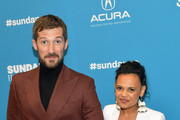 """Gwilym Lee (L) and Miranda Tapsell attend the """"Top End Wedding"""" Premiere during the 2019 Sundance Film Festival at Eccles Center Theatre on January 30, 2019 in Park City, Utah."""