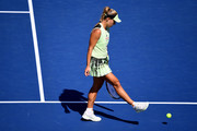 Angelique Kerber of Germany reacts during her women's singles first round match against Kristina Mladenovic of France during day one of the 2019 US Open at the USTA Billie Jean King National Tennis Center on August 26, 2019 in the Flushing neighborhood of the Queens borough of New York City.