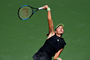 Kristina Mladenovic of France serves during her women's singles first round match against  Angelique Kerber of Germany during day one of the 2019 US Open at the USTA Billie Jean King National Tennis Center on August 26, 2019 in the Flushing neighborhood of the Queens borough of New York City.