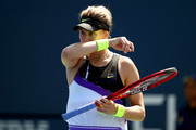 Eugenie Bouchard of Canada reacts as she plays against Anastasija Sevastova (not pictured) of Latvia during their Women's Singles first round match during day one of the 2019 US Open at the USTA Billie Jean King National Tennis Center on August 26, 2019 in the Flushing neighborhood of the Queens borough of New York City.