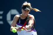 Eugenie Bouchard of Canada returns the ball to Anastasija Sevastova (not pictured) of Latvia during their Women's Singles first round match during day one of the 2019 US Open at the USTA Billie Jean King National Tennis Center on August 26, 2019 in the Flushing neighborhood of the Queens borough of New York City.