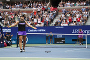 Bianca Andreescu of Canada celebrates winning the Women's Singles final match against Serena Williams of the United States on day thirteen of the 2019 US Open at the USTA Billie Jean King National Tennis Center on September 07, 2019 in the Queens borough of New York City.