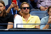 Alexander Skarsgard, actor, watches the Men's Singles final match between Rafael Nadal of Spain and Daniil Medvedev of Russia on day fourteen of the 2019 US Open at the USTA Billie Jean King National Tennis Center on September 08, 2019 in the Queens borough of New York City.