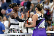 Venus Williams (L) of the United States shakes hands with Elina Svitolina of the Ukraine after losing to her in her Women's Singles second round match on day three of the 2019 US Open at the USTA Billie Jean King National Tennis Center on August 28, 2019 in the Flushing neighborhood of the Queens borough of New York City.