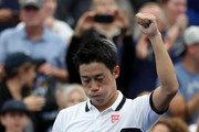 Kei Nishikori of Japan celebrates victory in his Men's Singles second round match against Bradley Klahn of the United States on day three of the 2019 US Open at the USTA Billie Jean King National Tennis Center on August 28, 2019 in the Flushing neighborhood of the Queens borough of New York City.