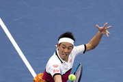Kei Nishikori of Japan returns a shot during his Men's Singles second round match against Bradley Klahn of the United States on day three of the 2019 US Open at the USTA Billie Jean King National Tennis Center on August 28, 2019 in the Flushing neighborhood of the Queens borough of New York City.
