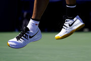 A view of the Nike Tennis Shoes worn by Kei Nishikori of Japan during his Men's Singles third round match against Alex de Minaur of Australia on day five of the 2019 US Open at the USTA Billie Jean King National Tennis Center on August 30, 2019 in Queens borough of New York City.