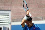 Kei Nishikori of Japan reacts during his Men's Singles third round match Alex de Minaur of Australia on day five of the 2019 US Open at the USTA Billie Jean King National Tennis Center on August 30, 2019 in Queens borough of New York City.