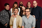 (L-R) Harvey Guillen, Natasia Demetriou, Taika Waititi, Kayvan Novak, Beanie Feldstein, Jemaine Clement, Paul Simms and Mark Proksch of FX's 'What We Do In The Shadows' pose for a portrait during the 2019 Winter TCA Getty Images Portrait Studio at The Langham Huntington, Pasadena on February 4, 2019 in Pasadena, California.