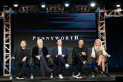 "(L-R) Danny Cannon, Bruno Heller, Jack Bannon, Ben Aldridge, and Paloma Faith of the television show ""Pennyworth"" speak during the EPIX Networks segment of the 2019 Winter Television Critics Association Press Tour at The Langham Huntington, Pasadena on February 10, 2019 in Pasadena, California."