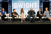 (L-R) Andra Duke, Sloane Morgan Siegel,  Caitlin Carmichael, Joel McCrary, Brian Adams, and LeeAnne Adams of the television show 'Dwight in Shining Armor' speak during the BYUTv Session of the 2019 Winter Television Critics Association Press Tour at The Langham Huntington, Pasadena on February 13, 2019 in Pasadena, California.