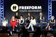 (Back L-R) I. Marlene King, Jenifer Rice-Genzuk Henry, Joanna Johnson (Front L-R) Janel Parrish, Sasha Pieterse, Yara Shahidi, Luka Sabbat, Cierra Ramirez and Maia Mitchell speak at the Youth Movement panel  during the Freeform segment of the 2019 Winter Television Critics Association Press Tour at The Langham Huntington, Pasadena on February 05, 2019 in Pasadena, California.