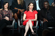 (L-R) Marcia Clark, Robin Tunney and Adewale Akinnuoye-Agbaje of the television show 'The Fix' speak during the ABC segment of the 2019 Winter Television Critics Association Press Tour at The Langham Huntington, Pasadena on February 05, 2019 in Pasadena, California.