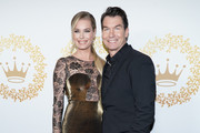 Rebecca Romijn and Jerry O'Connell attend Hallmark Channel And Hallmark Movies And Mysteries 2019 Winter TCA Tour at Tournament House on February 09, 2019 in Pasadena, California.