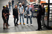 (EDITORIAL USE ONLY. NO COMMERCIAL USE) Brian Kelley (center L) and Tyler Hubbard (center R) of Florida Georgia Line are seen backstage at the 2019 iHeartCountry Festival Presented by Capital One at the Frank Erwin Center on May 4, 2019 in Austin, Texas.